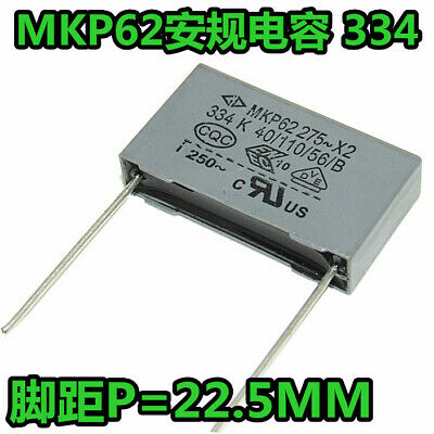 10pcs 0.33uF MKP62 X2 334K 334 X2 275AC Polypropylène Film Condensateur P = 22.5 mm