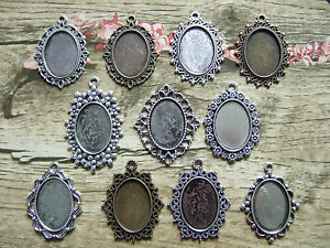 Antique-Silver-Bronze-Oval-Pendant-Trays-Blank-Cameo-Cabochon-Setting-18-25mm