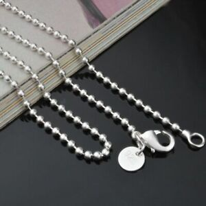 825-Sterling-Solid-Silver-Bead-Chain-Necklace-For-Women-Jewelry-2-4mm-16-24-034-UK