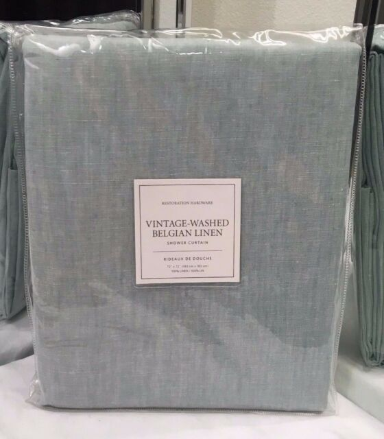 Restoration Hardware Vintage Washed Belgian Linen Shower Curtain Silver Sage NEW