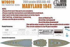Hunter 1/700 W70019 Wood deck USN Maryland 1941 for Trumpeter