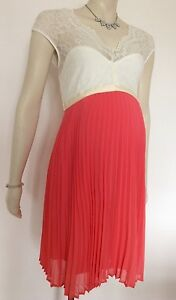 cdfb90acd3e36 Rock-A-Bye Rosie Maternity NEW Stunning Ivory Coral Dress Size 8 ...