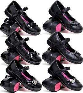 Girls School Shoes New Kids Infants Formal Party Evening Black Fancy Shoes Size