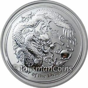 Australia-2012-Year-Dragon-Perth-Lunar-Series-II-8-5-Oz-Troy-Pure-Silver-in-OGP
