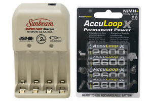 Sunbeam Aa Aaa Battery Charger 4 Pack Aa 2600 Mah Acculoop X Nimh Batteries Ebay