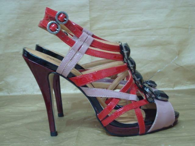 KURT GEIGER UK 7 RED BLACK AND PEUCE STRAPPY PLATFORM SANDALS