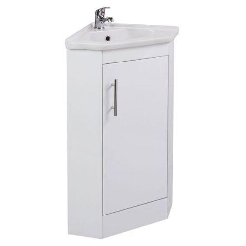 Sink Kass Single Door Corner Bathroom Vanity Unit With Basin 535mm Wide Gloss White Home Bathroom Sinks