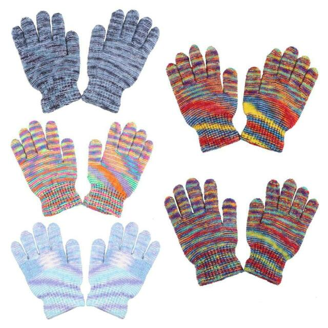 Fashion Women Warm Multicolor Mittens Cashmere Casual Knitted Full Finger Gloves