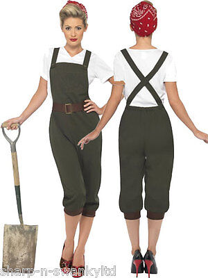 Land Girl Costume 1930s 1940s Ladies Uniform Fancy Dress Outfit Military World W