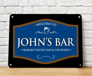 Personalised Bar pub Sign home bar sign Black /& Blue Welcome Beer Label A4
