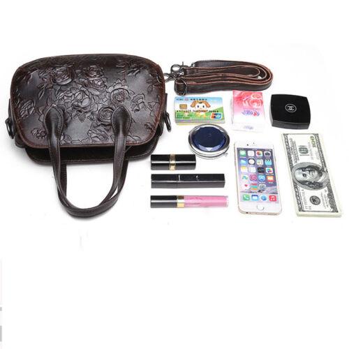 Genuine Leather Embossed Women Vintage Casual Tote Bag Shoulder Messenger Bags
