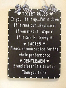 Image is loading Handcrafted-Wooden-Bathroom-Sign-TOILET-RULES-LADIES -GENTLEMEN-