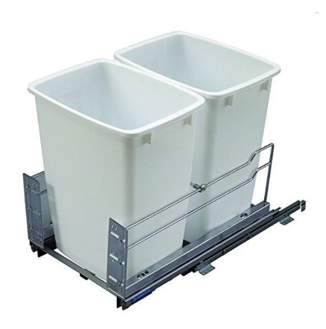 36 Qt. doble extraíble Basura Organizador de extensión completa Sistema de cierre suave con 2 contenedores