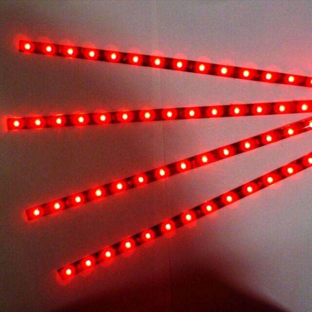 4pcs 15 LED 30cm Car Auto Flexible Waterproof Strip Light SMD 12V Sales Red N