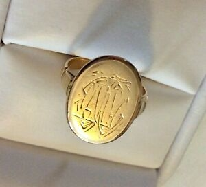Superb-Unusual-Antique-1929-Solid-Heavy-18CT-Gold-Monogram-Ring-Size-K