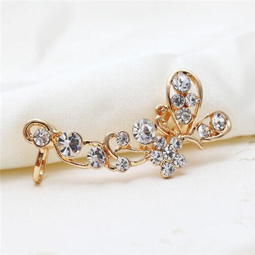 Fashion Stud Crystal Cute Butterfly Flower Clip Ear Cuff Earring Wrap Girl Gift