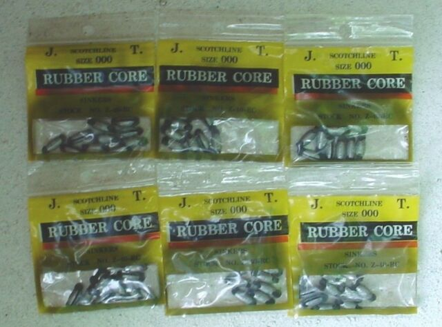 3 PACKS OF SCOTCHLINE 1//8OZ SIZE 00 RUBBER CORE SINKERS Z-25-RC