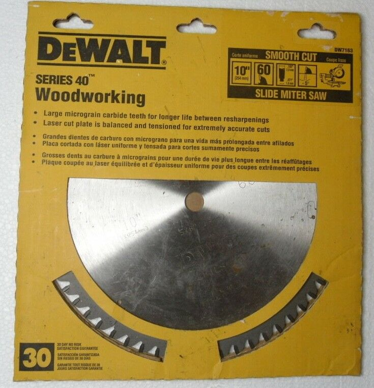 DEWALT DW7163 Series 40 10-Inch 60 Tooth ATB Thin Kerf Crosscutting Saw Blade