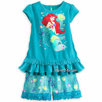 Little Mermaid Ariel Short Sleep Set For Girls Pajamas Disney Store 3 4 5/6 7/8
