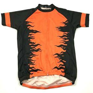 Flames Cycling Jersey Size Large Medium M Full Zip Shirt Orange Black Raglan Tee