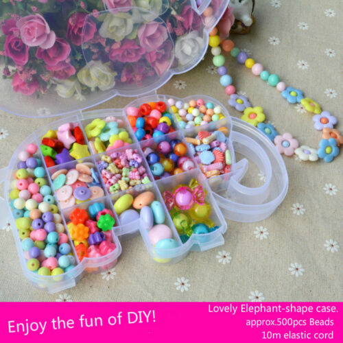 500pc Mix Plastic Jewelry Beads Set in Cute Box w/' Free Cord For Kids Crafts DIY