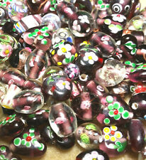 Bead Oddment - Large Lampwork & Glass Beads - 50gms  - Amethyst Mix