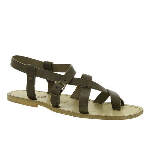 Handmade gladiator flat open sandals for men mud genuine leather Italian shoes