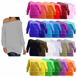 New-Ladies-Plain-Long-Sleeved-Batwing-T-Shirt-Womens-Stretch-Tunic-Top-Plus-Size