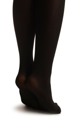 T002932 Black Faux Stockings With Printed Grey and Black Roses