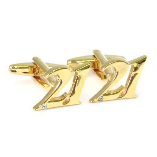 Oro Color número 21 Gemelos hito Xxi Regalo De Cumpleaños Nuevo Emb.Original aj239