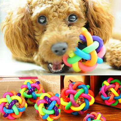 Pet Dog Cat Colorful Dental Teething Healthy Teeth Chew Training Play Ball Toy