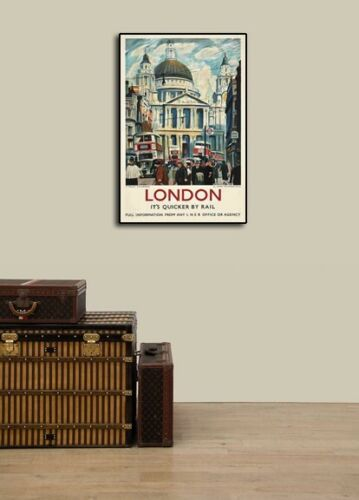 16x24 London Quicker by Rail 1953 Vintage Style Travel Poster