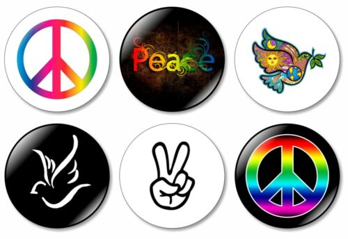 6 x Peace 32mm BUTTON PIN BADGES Love Happiness Dove Symbol Logo World Peace