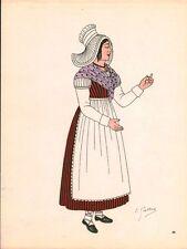 Gravure d'Emile Gallois costume des provinces françaises 1950 Orléanais,Eure-et