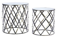 Art Deco Gin Shu Nest Of Tables, 2 Silver Metal With Mirrored Top Side Tables