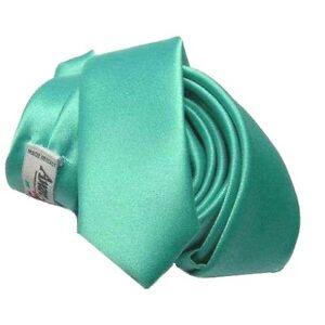 CRAVATTA SLIM 6cm verde tiffanie Made Italy CRAVATTINO RASO LUCIDO moda giovane