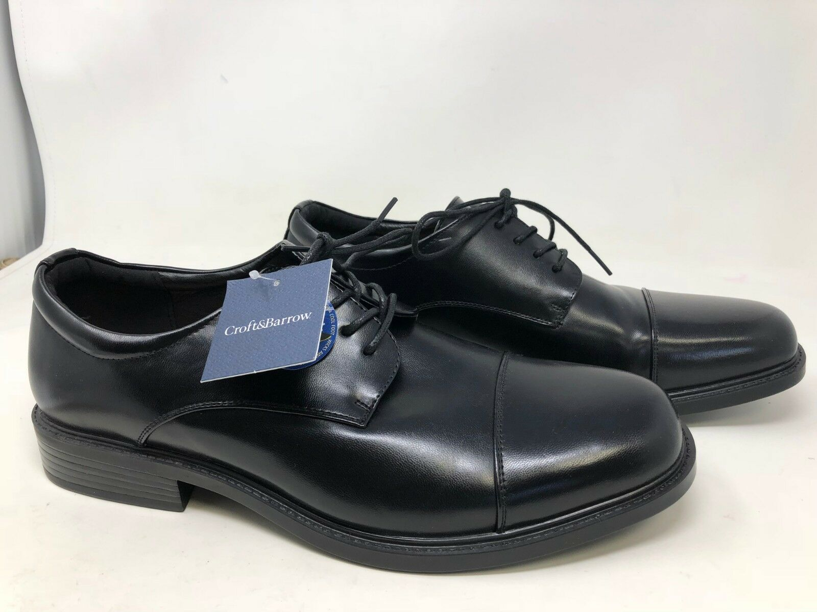 New   Mens Croft & Barrow Affleck Dress shoes Black 119701 3O