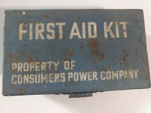 Vintage First Aid Kit CONSUMERS POWER CO. Small Metal Case w Contents Michigan