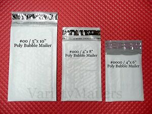 30 Poly Bag /& Poly Bubble Variety ~ 5 each of 6 Popular Sizes ~ Self-Sealing