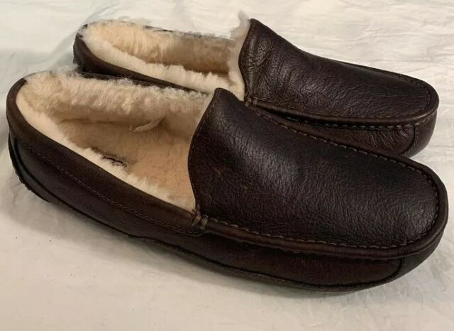 990b77dc9 UGG ASCOT 5379 MEN'S SLIPPERS CHINA TEA LEATHER NEW* SZ 8 100% AUTHENTIC  for sale online