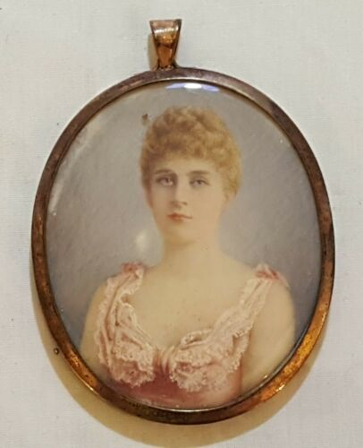 Metal rim vintage Victorian antique hand painted miniature painting of woman