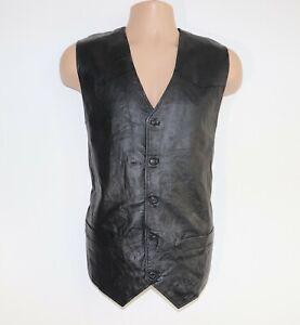 Men-039-s-Vintage-MILLER-Black-100-Leather-Vest-Waistcoat-Size-XL-Pit-To-Pit-22-5-034