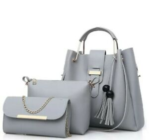 Women Leather Handbags Sets Gray New