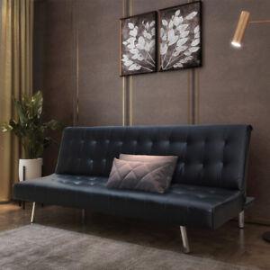 NTS-Schlafsofa-Couch-Sofa-Lounge-Bettfunktion-klappbar-Kunstleder-Schwarz
