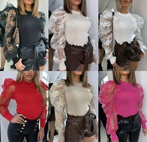 Damen-Damen-Feinripp-Floral-Lace-Sheer-Puff-Armel-Bestickt-Pullover-Top