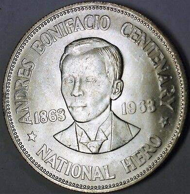 1963 Philippines 1 Peso Brilliant Uncirculated Andres Bonifacio Silver Coin