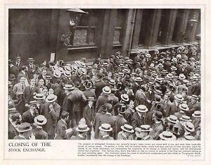 1914 Imprimé Première Guerre Mondiale ~ Fermeture De Stock Exchange Stockbrokers Btusowpk-08000559-839944843