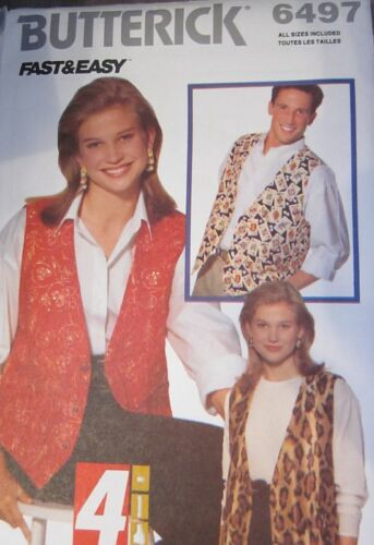 Vintage Butterick SEWING Pattern 6497 UNISEX EASY Vest XS-XL UNCUT OOP NEW FF