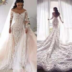 Details About Detachable Train Wedding Dresses Removable Bridal Gowns Mermaid Blush Pink 2019