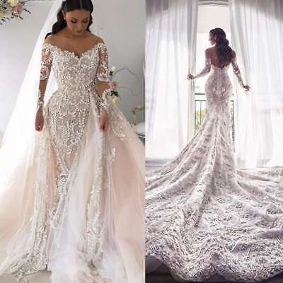 Detachable Train Wedding Dresses Removable Bridal Gowns Mermaid
